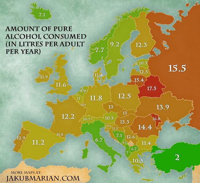 Consumul de alcool in Europa.